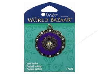 Blue Moon Beads Metal Pendant Oxidized Brass & Blue Enamel Round