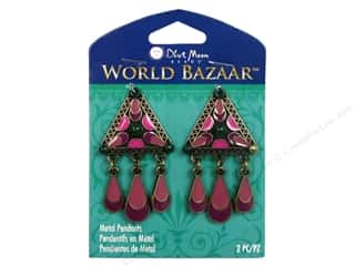 Clearance Blue Moon Pendant: Blue Moon Beads Metal Pendant World Bazaar Oxidized Brass & Pink Enamel Triangles with Dangles 2 pc.
