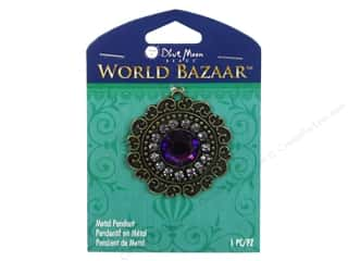 "Brass Rings 12"": Blue Moon Beads Metal Pendant World Bazaar Oxidized Brass Round with Purple Rhinestone"