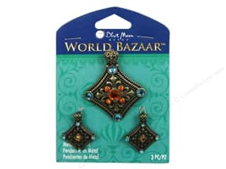 "Blue Moon Beads 16"": Blue Moon Beads Metal Pendant World Bazaar Oxidized Brass Diamond 3 pc."
