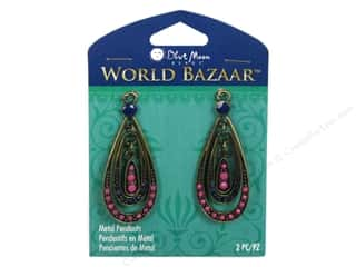 Blue Moon Beads: Blue Moon Beads Metal Pendant World Bazaar Oxidized Brass & Pink Teardrop 2 pc.