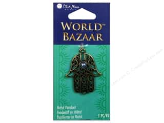 "Brass Rings 12"": Blue Moon Beads Metal Pendant World Bazaar Oxidized Brass Hamsa"