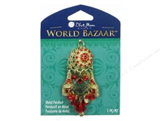 Clearance Blue Moon Pendant: Blue Moon Bead Metal Pendant World Bazaar Metal Flower with Red & Gold Dangle