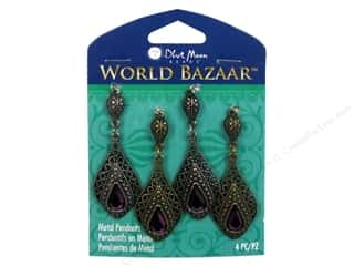 Blue Moon Beads Cream/Natural: Blue Moon Beads Metal Pendant World Bazaar Oxidized Silver & Brass Teardrops 4 pc.