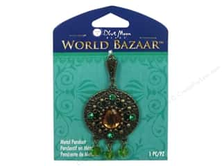 Blue Moon Metal Pendant Oxidized Brass Round with Dangles