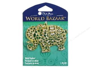 Earrings Clear: Blue Moon Beads Metal Pendant World Bazaar Gold Elephant with Clear Rhinestones