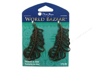 Blue Feather Products, Inc: Blue Moon Beads Metal Pendant World Bazaar Oxidized Brass Feathers 2 pc.