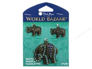 Blue Moon Metal Pendant Oxidized Brass Elephants 3 pc.