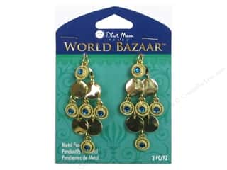 Clearance Blue Moon Pendant: Blue Moon Beads Metal Pendant World Bazaar Gold Diamond Shaped Dangles 2 pc.
