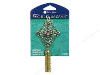 Charms and Pendants Blue Moon Beads Pendant: Blue Moon Beads Metal Pendant World Bazaar Gold Metal Diamond with Tassel