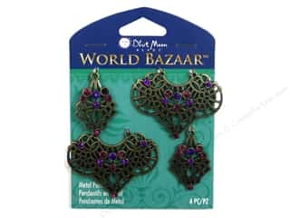 pendants jewelry: Blue Moon Beads Metal Pendant World Bazaar Assorted Oxidized Brass Filigree 4 pc.