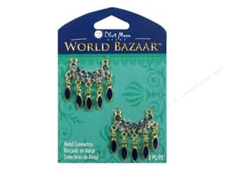 crimped clearance craft: Blue Moon Beads Metal Connectors World Bazaar Gold with Oval Dangles 3 pc.