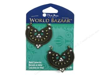 crimped clearance craft: Blue Moon Beads Metal Connectors World Bazaar Oxidized Brass U Shaped with Dots 2 pc.