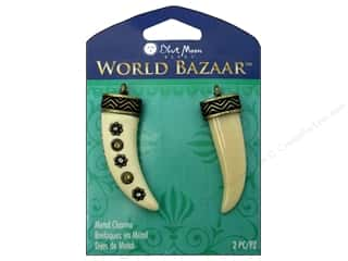 Blue Moon Beads Charms and Pendants: Blue Moon Beads Metal Charms Enamel Tusk 2pc. Ivory/Oxidized Brass