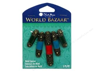 Blue Moon Beads Spacer Metal Enamel Tube 5pc Oxidized Brass