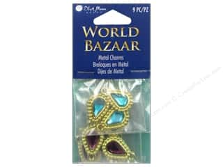 Charms Blue: Blue Moon Beads Metal Charms World Bazaar Acrylic Drop 3pc Multicolor Gold