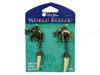 "Brass Rings 12"": Blue Moon Beads Metal Charms World Bazaar Elephant Tusk 2pc Oxidized Brass"