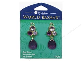 Charms Blue: Blue Moon Beads Metals Charm World Bazaar Acrylic Dangle 2pc. Gold