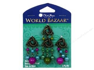 Plastics Blue: Blue Moon Beads Metal Charms Plastic Twist Dangle 3pc Oxidized Brass