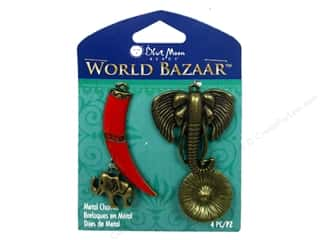 Blue Moon Beads Charms and Pendants: Blue Moon Beads Metal Charms Enamel Elephant Tusk 4pc Oxidized Brass