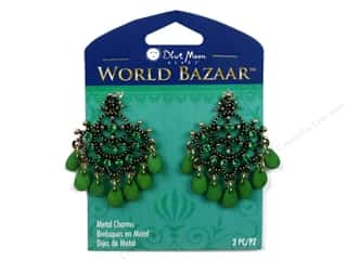 Blue Moon Beads Metal Charms Acrylic Dangle Green 2pc Gold