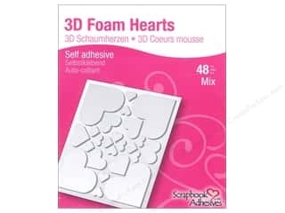 therm o web foam adhesive: 3L Scrapbook Adhesives 3D Foam Hearts 48 pc.