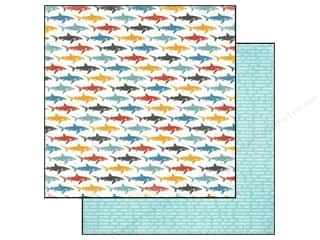 Captions Summer: Carta Bella 12 x 12 in. Paper Beach Boardwalk Little Sharks (25 pieces)