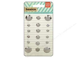 BasicGrey Metal Stud Stickers Basics Circle Silver