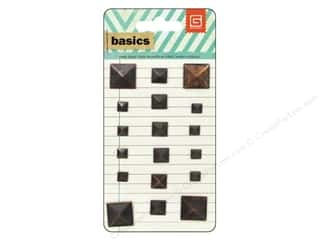 BasicGrey Metal Stud Stickers Basics Square Brass