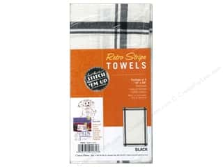 Aunt Martha&#39;s Towels Retro Stripe Black 3pc
