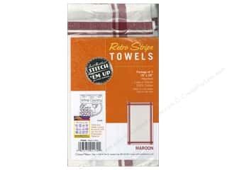 Aunt Martha's Towels Retro Stripe Maroon 3pc