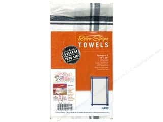 Aunt Martha&#39;s Towels Retro Stripe Navy 3pc
