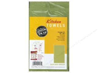 Towels Canvas / Aida Cloth: Aunt Martha's Kitchen Towels 2 pc. Avocado Green