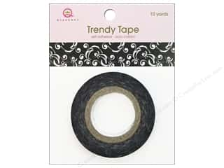 Queen&amp;Co Trendy Tape 10yd Black Scroll