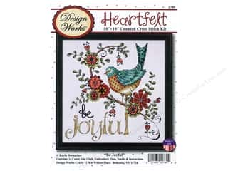 "Stitchery, Embroidery, Cross Stitch & Needlepoint Transfers: Design Works Cross Stitch Kit 10""x 10"" Be Joyful"