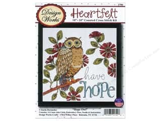 "Design Works Crafts Yarn Kits: Design Works Cross Stitch Kit 10""x 10"" Hope Owl"