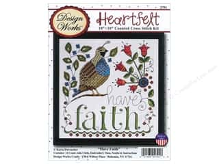 "Bobbins Stitchery, Embroidery, Cross Stitch & Needlepoint: Design Works Cross Stitch Kit 10""x 10"" Have Faith"