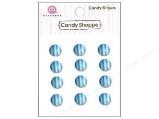 Queen & Company Stickers: Queen&Co Sticker Candy Stripers Round Blueberry Bliss