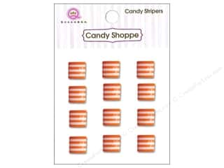 Children paper dimensions: Queen&Co Sticker Candy Stripers Square Orange Crush