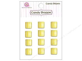 Queen & Company: Queen&Co Sticker Candy Stripers Square Lemon Drop
