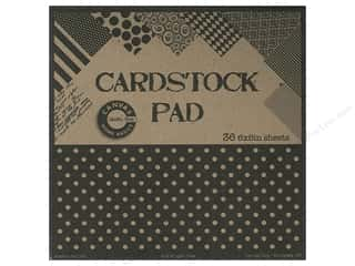 Papers Printed Cardstock: Canvas Corp 6 x 6 in. Cardstock Pad Black & Kraft Prints