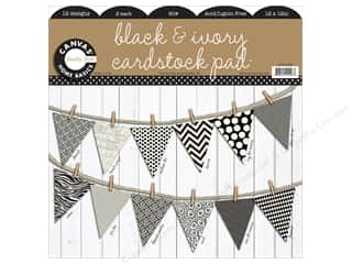 Kandi Corp Clearance Crafts: Canvas Corp 12 x 12 in. Cardstock Pad Black & Ivory Prints