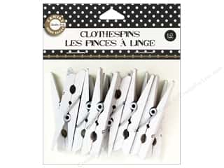 Push Pins Basic Components: Canvas Corp Small Clothespins 12 pc. White