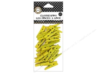 Push Pins Basic Components: Canvas Corp Mini Clothespins 25 pc. Yellow