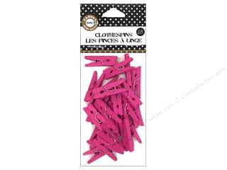 Clothespins: Canvas Corp Mini Clothespins 25 pc. Hot Pink