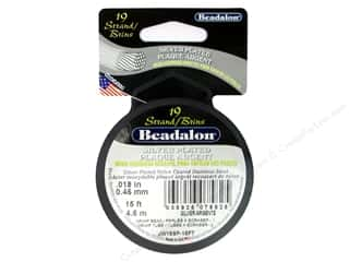 Beadalon Bead Wire 19 Strand .018&quot; Slvr Plate 15&#39;