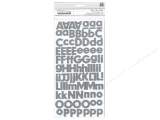 Pebbles Inc American Crafts Thickers Stickers: American Crafts Thickers Alphabet Stickers Basics Glitter Ash