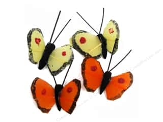 Midwest Design Butterfly Feather Assorted Mini .5&quot; 4pc