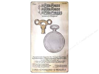 Magnets $2 - $4: Sizzix Movers & Shapers Magnetic Die Set 2PK Mini Clock Key & Pocket Watch by Tim Holtz