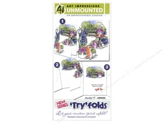 Clearance Blumenthal Favorite Findings: Art Impressions Rubber Stamp Try Folds Garden